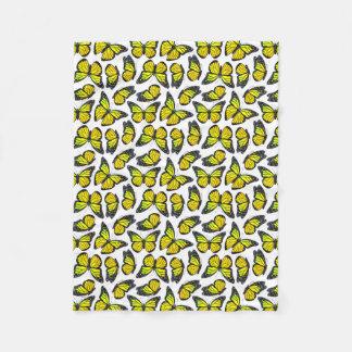 Yellow Monarch Butterfly Pattern Fleece Blanket