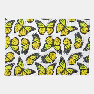 Yellow Monarch Butterfly Pattern Kitchen Towels
