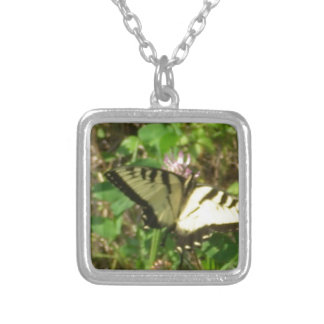 Yellow Monarch butterfly picture up close Silver Plated Necklace