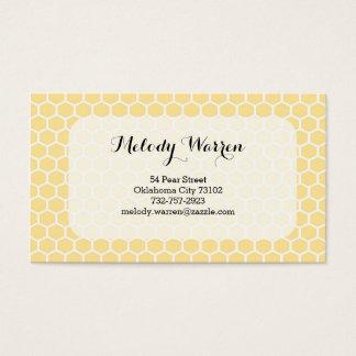 Yellow Monogram Hexagon Business Card