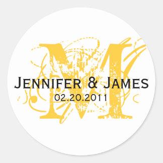 Yellow Monogram M Save the Date Wedding Sticker