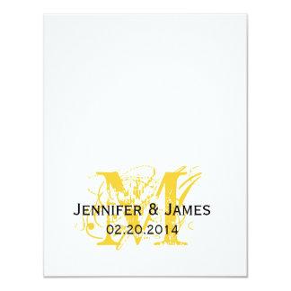 "Yellow Monogram Names Wedding Reply Cards 4.25"" X 5.5"" Invitation Card"