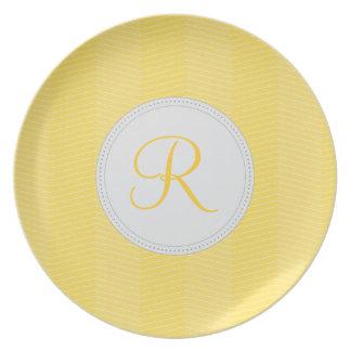 Yellow Monogram Thin Chevron Pattern Dinner Plate