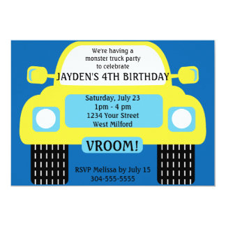 Yellow Monster Truck Birthday Party Card