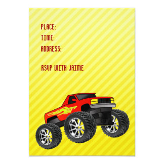 "Yellow Monster Truck Invitation 5"" X 7"" Invitation Card"