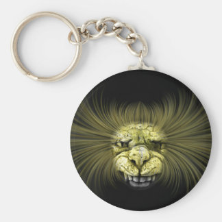 Yellow monster with big teeth basic round button keychain