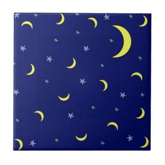 Yellow Moon Blue Night Stars Tile