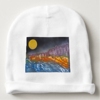 Yellow moon over metamorphic landscape baby beanie