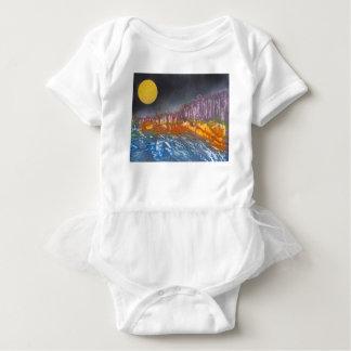 Yellow moon over metamorphic landscape baby bodysuit