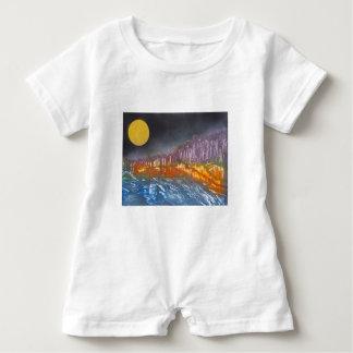 Yellow moon over metamorphic landscape baby romper