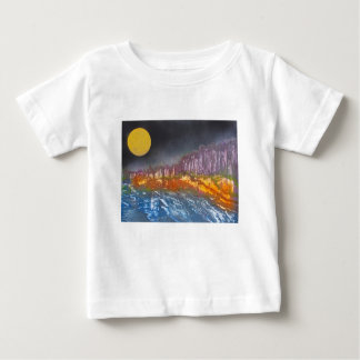 Yellow moon over metamorphic landscape baby T-Shirt