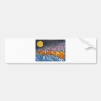 Yellow moon over metamorphic landscape bumper sticker