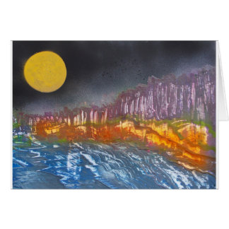 Yellow moon over metamorphic landscape card