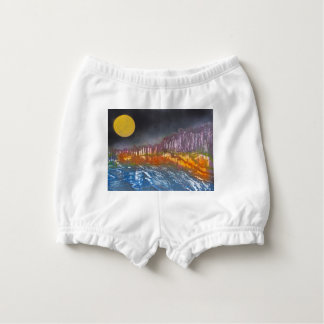 Yellow moon over metamorphic landscape diaper cover