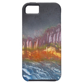 Yellow moon over metamorphic landscape iPhone 5 cover