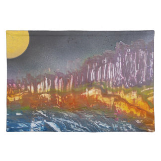 Yellow moon over metamorphic landscape placemat