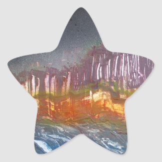 Yellow moon over metamorphic landscape star sticker