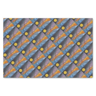 Yellow moon over metamorphic landscape tissue paper