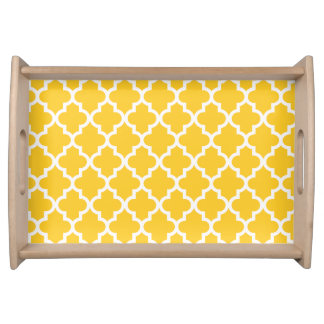 Yellow Morrocan Pattern Serving Tray