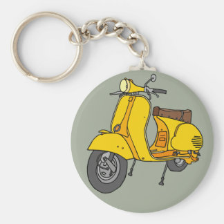 Yellow Motor Scooter Basic Round Button Keychain
