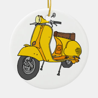 Yellow Motor Scooter Ceramic Ornament