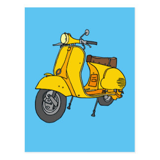 Yellow Motor Scooter Postcard