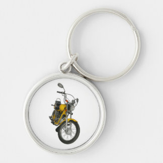 Yellow motorbike Silver-Colored round keychain