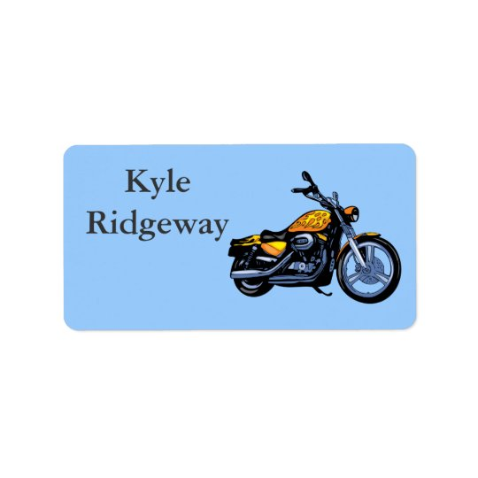 Yellow Motorcycle Name Label