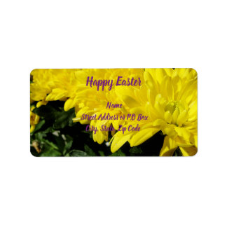 Yellow Mums Happy Easter Label