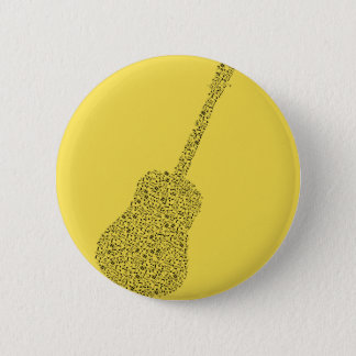 Yellow Music note Guitar 2 Inch Round Button