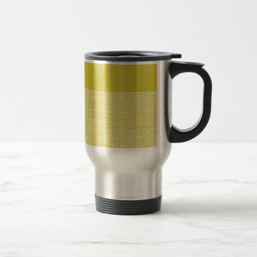 Yellow Mustard and White Dot Pattern Mugs