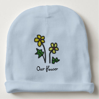 Yellow Naive Flowers with Custom Name Baby Beanie