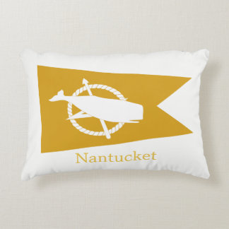 Yellow Nantucket Whale Flag pillow