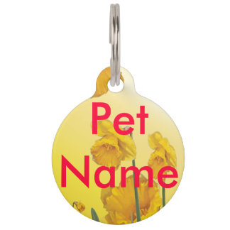 Yellow Narcissus Daffodil Pet ID Tags