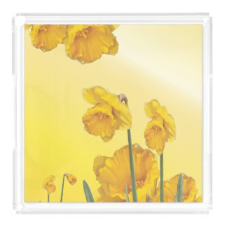 Yellow Narcissus Daffodil  Retro Vintage look Serving Tray