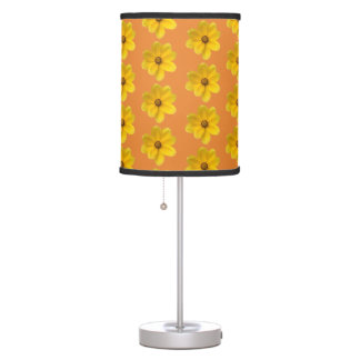 Yellow Native Flower Lampshade Table Lamp