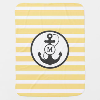 Yellow Nautical Anchor Monogram Baby Blanket