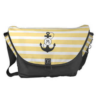 Yellow Nautical Anchor Monogram Commuter Bags