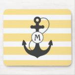 Yellow Nautical Anchor Mousepads