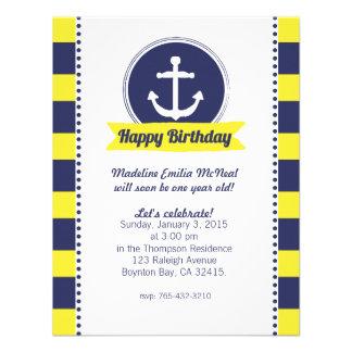 yellow NAUTICAL BIRTHDAY party invitation