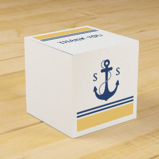 Yellow Nautical Monogram Favor Boxes