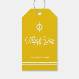 Yellow Nautical Thank You Script with Helm Pack Of Gift Tags