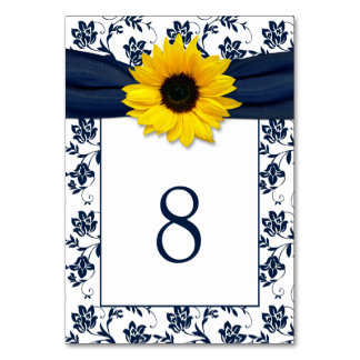 Yellow Navy Blue Damask Sunflower Ribbon Wedding Card