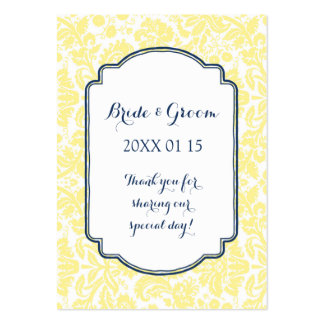 Yellow Navy Blue Damask Wedding Favor Tags Pack Of Chubby Business Cards