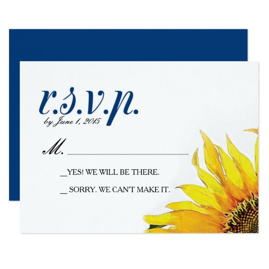 Yellow Navy Blue Sunflower RSVP Card