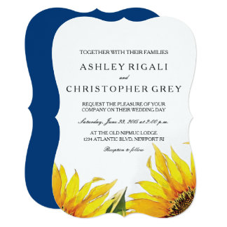 Yellow & Navy Blue Sunflower Wedding Invite