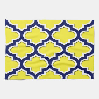 Yellow, Navy Blue, Wht Lg Moroccan Quatrefoil #3DS Kitchen Towel