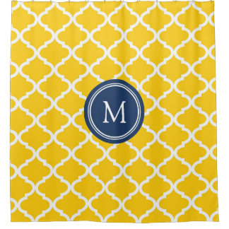 Yellow Navy Quatrefoil Monogram Shower Curtain