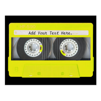 Yellow Neon Customizable Cassette Tape Postcards