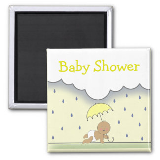 Yellow Neutral Baby Shower Magnet- Rain & Umbrella Magnet